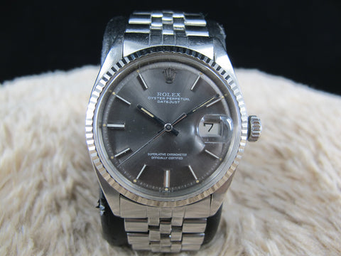 [1970] Rolex DATEJUST 1601 SS ORIGINAL Dark Grey Dial with Folded Jubilee