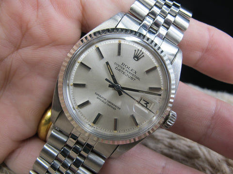 [1970] Rolex DATEJUST 1601 SS ORIGINAL Silver Dial with Folded Jubilee