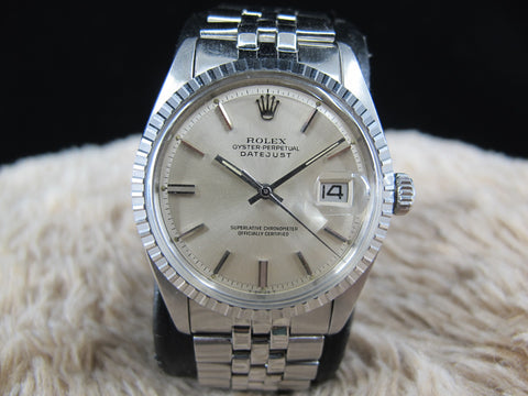 [1977] Rolex DATEJUST 1603 SS ORIGINAL Silver Dial with Folded Jubilee
