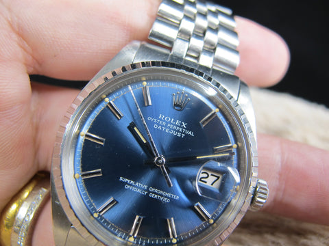 [1971] Rolex DATEJUST 1603 SS with Original Glossy Blue Dial with Double Papers