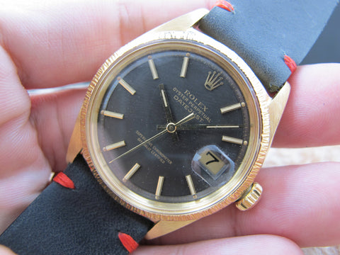 1967 Rolex DATEJUST 1607 18K YG with Original Charcoal Dial and Bark Bezel