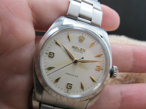 1957 Rolex OYSTER 6422 Creamy Explorer Dial with Rivet Band