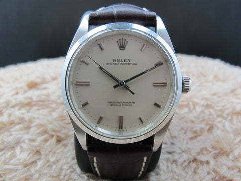 1970 Rolex OYSTER PERPETUAL 1018 Original Silver Dial BIG SIZE (36mm)