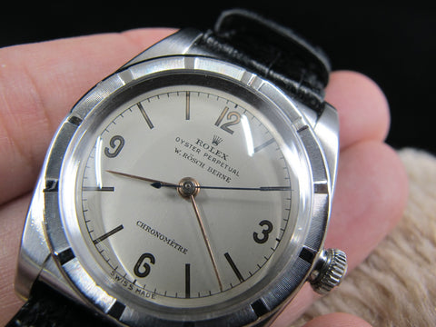 [1946] Rolex BUBBLEBACK 3372 with Original Double Signed Silver