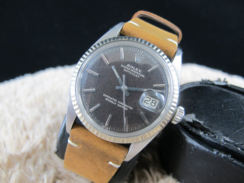 [1967] Rolex DATEJUST 1601 SS Original Tropical Glossy Gilt with Leopard Pattern