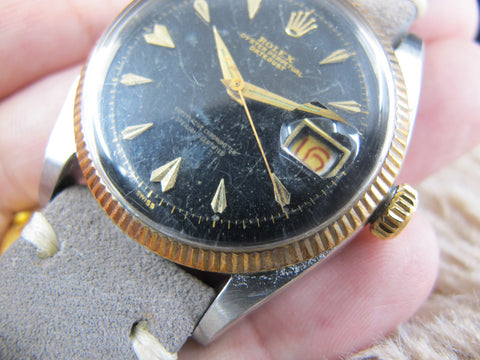 "[1958] Rolex DATEJUST 6605 2-Tone Original ""Marble"" Glossy Gilt Dial with Flies Index"