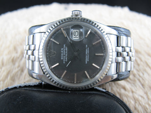 [1972] Rolex DATEJUST 1601 Stainless Steel ORIGINAL Matt Black Dial