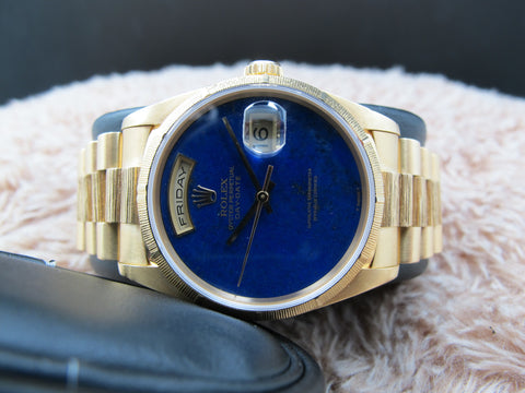 1998 Rolex DAY-DATE 18248 18K Gold with Original Lapis Dial Full Set