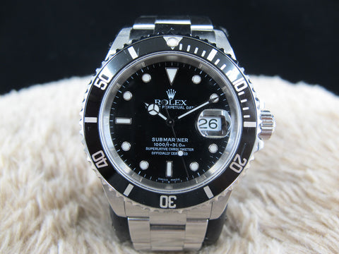 [2001] Rolex SUBMARINER 16610 Black Dial Black Bezel with Box and Paper
