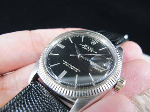 [1964] Rolex DATEJUST 1601 18K White Gold Case with Original Glossy Gilt Dial