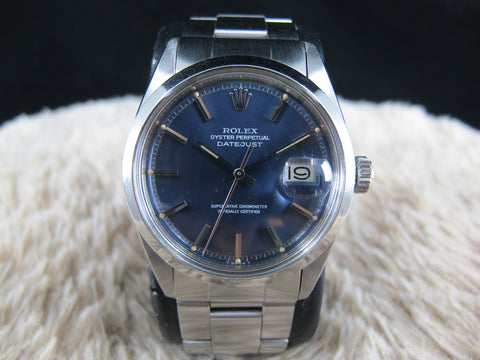 [1974] Rolex DATEJUST 1600 SS ORIGINAL Glossy Blue Dial with Folded Oyster Band