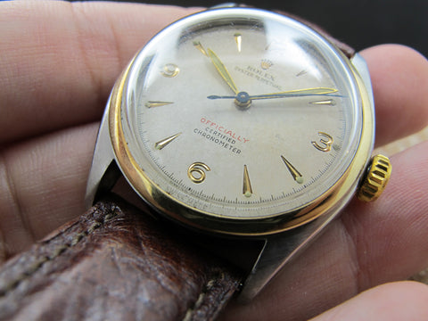 "1952 Rolex OYSTER PERPETUAL 6084 Semi-Bubbleback with Red ""Officially"""