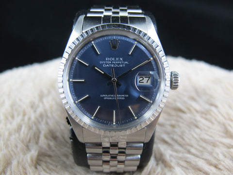 [1977] Rolex DATEJUST 1603 SS ORIGINAL Glossy Blue Dial with Box and Paper