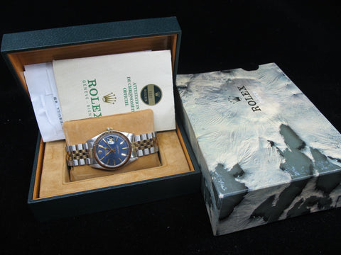 [1973] Rolex DATEJUST 1601 2-Tone ORIGINAL Glossy Blue Dial with Box and Paper