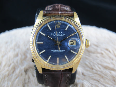 [1970] Rolex DATEJUST 1601 18K YG with Original Blue Mosaic Dial