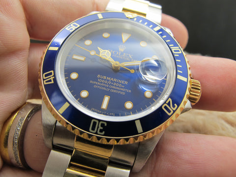1995 Rolex SUBMARINER 16613 2-Tone Blue Dial with Box and Paper