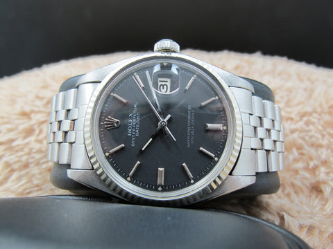 1973 Rolex DATEJUST 1601 SS Original Matt Black SIGMA Dial