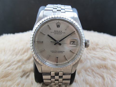 1973 Rolex DATEJUST 1603 SS ORIGINAL Silver Dial (no lume) with Folded Jubilee
