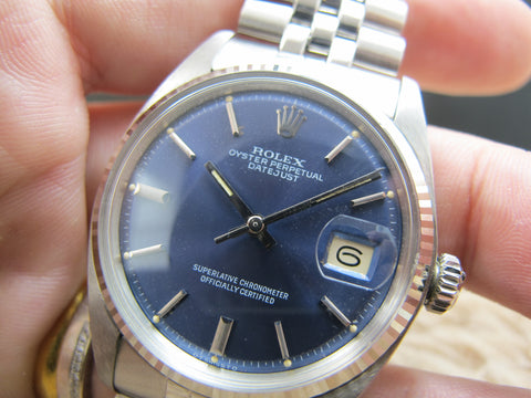 1974 Rolex DATEJUST 1601 SS ORIGINAL Glossy Blue Dial with Box and Paper