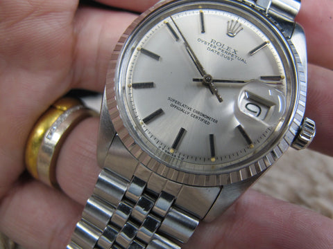[1972] Rolex DATEJUST 1603 SS ORIGINAL Silver SIGMA Dial with Folded Jubilee