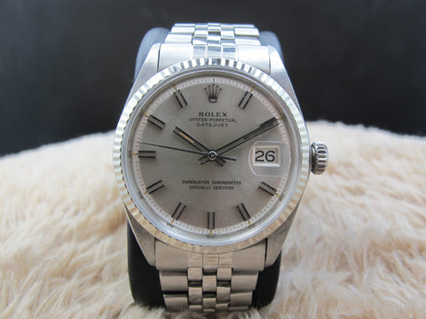 1970 Rolex DATEJUST 1601 SS with Original Wide Boy Patina Dial