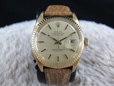 [1970] Rolex DATEJUST 1601 18K YG with Original Matte Gold Dial