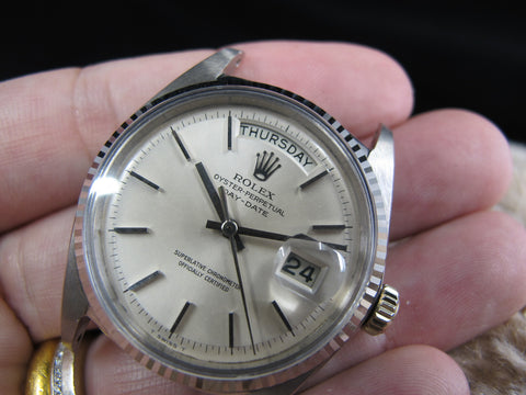 [1967] Rolex DAY-DATE 1803 18K White Gold with Original Silver (no lume) Dial