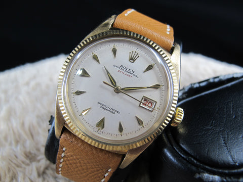 "[1955] Rolex DATEJUST 6305 9K YG Ovettone Bubbleback with ""RED"" Datejust"