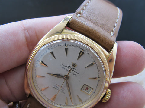 1952 Rolex OYSTER PERPETUAL 6105 18K Pink Gold BIG Bubbleback