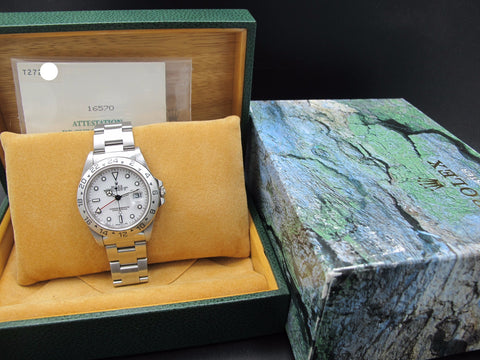 1996 Rolex EXPLORER 2 16570 White Dial (T25) with Box and Paper