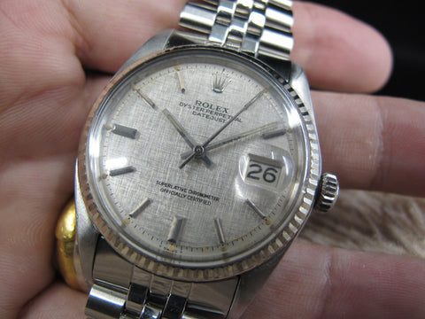 [1970] Rolex DATEJUST 1601 SS ORIGINAL Silver Linen Dial with Box and Paper