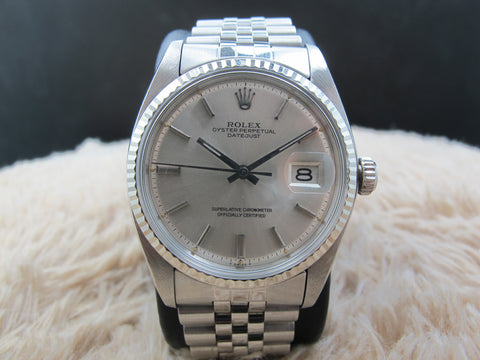 1972 Rolex DATEJUST 1601 SS ORIGINAL Silver Dial with Solid Jubilee