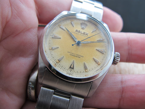 1954 Rolex BUBBLEBACK 6284 with Tropical Honeycomb Dial