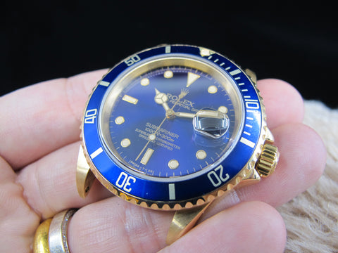 [1991] Rolex SUBMARINER 16618 18k Yellow Gold with Purple Dial & Full Set