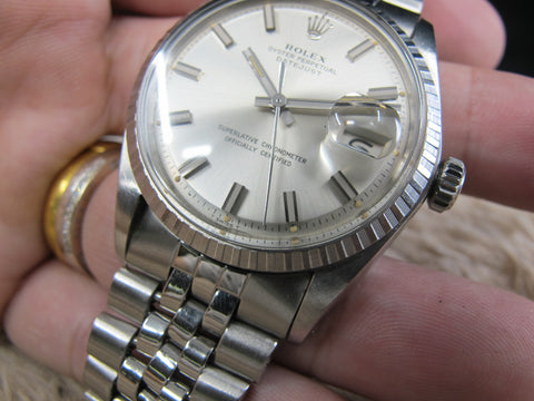 [1969] Rolex DATEJUST 1603 SS ORIGINAL Silver Wide Boy Dial with Folded Jubilee