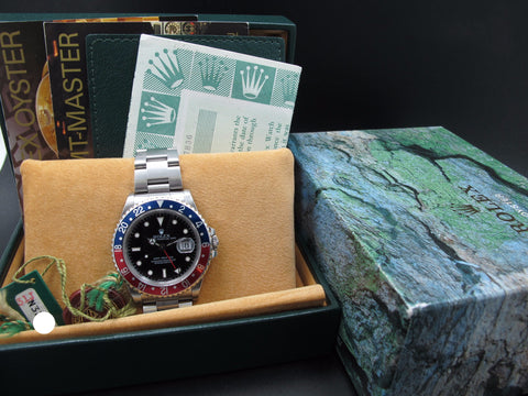 1994 Rolex GMT MASTER 16700 Pepsi Red/Blue Bezel Full Set