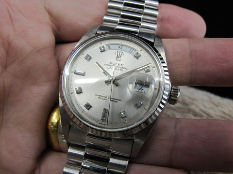 [1972] Rolex DAY-DATE 1803 18K White Gold with Original Silver Diamond Dial