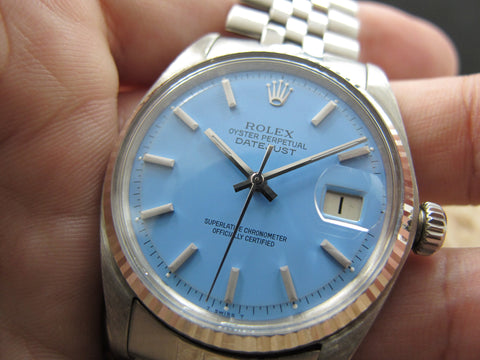 "1968 Rolex DATEJUST 1601 SS with Glossy ""Stella"" Sky Blue Dial"