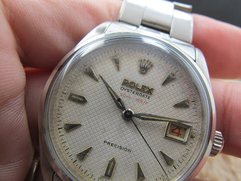 1954 Rolex OYSTERDATE 6294 Original Honeycomb Dial with Red Depth