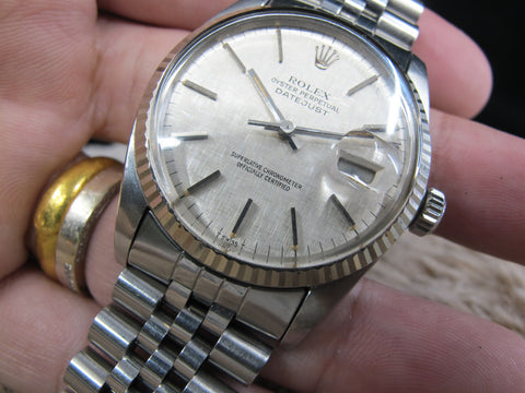 [1980] Rolex DATEJUST 16014 SS Original Silver Linen Dial with Solid Jubilee