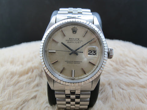 1969 Rolex DATEJUST 1601 SS ORIGINAL Silver Yellowish Dial with Solid Jubilee