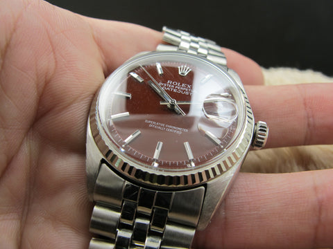 "1965 Rolex DATEJUST 1601 SS with Glossy ""Stella"" Oxblood Dial"