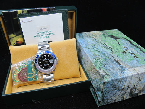 [1991] Rolex GMT MASTER 16700 Pepsi T25 Cream Lume Dial with BOX and PAPER