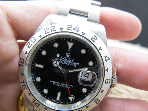 2004 Rolex EXPLORER 2 16570 Black Dial (No Hole Case) with Box and Paper