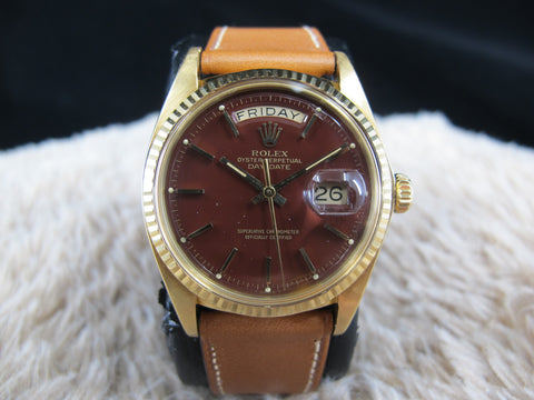 [1974] Rolex DAY-DATE 1803 18K Gold with Original Stella Oxblood Dial and Certificate