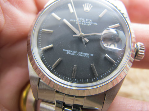1964 Rolex DATEJUST 1603 Matte Black Dial with Folded Jubilee