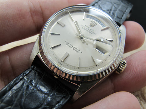 1969 Rolex DAY-DATE 1803 18K White Gold with Original Silver (no lume) Dial