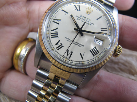 [1975] Rolex DATEJUST 1601 2-Tone with ORIGINAL Creamy Buckley Dial with Paper
