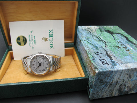 1985 Rolex DATEJUST 16014 SS Original Grey Buckley Dial with Box and Paper