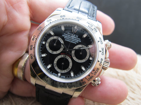 2002 Rolex DAYTONA 116519 18k White Gold with Black Dial Full Set Like NEW